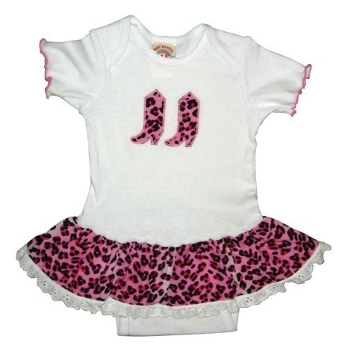 GIRLS WHITE ONESIE WITH PINK LEOPARD SKIRT Thumbnail