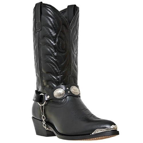 LAREDO BLACK LEATHER CONCHO WESTERN BOOT Thumbnail