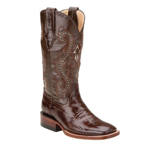 WOMEN'S BROWN PRINT BELLY GATOR WESTERN BOOT Thumbnail
