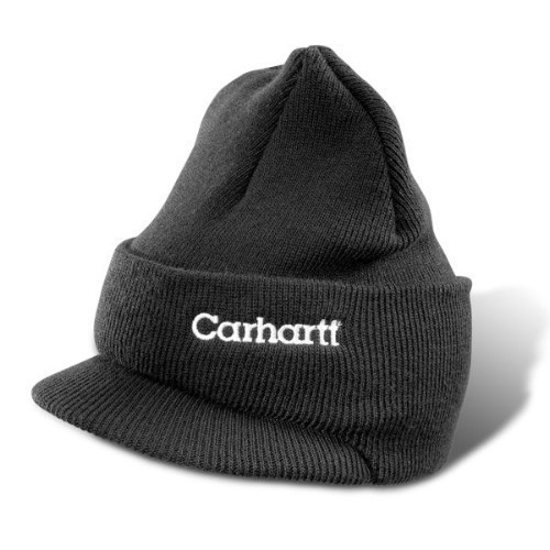 Carhartt Winter Knit Hat with Visor Black Thumbnail