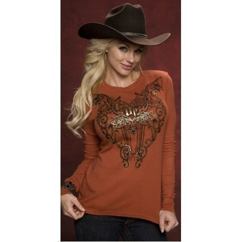 COWGIRL UP 6 SHOOTER HEART THERMAL SHIRT Thumbnail