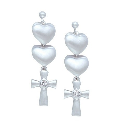 DOUBLE HEART CROSS SILVER  Thumbnail