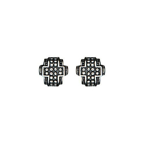EARRINGS - STUDDED CROSS Thumbnail