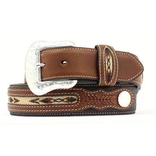 BLACK FABRIC INSET LEATHER WESTERN BELT Thumbnail