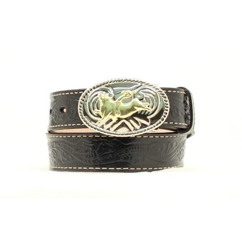 KIDS TOOLED LEATHER BELT W/BULL RIDING BUCKLE Thumbnail