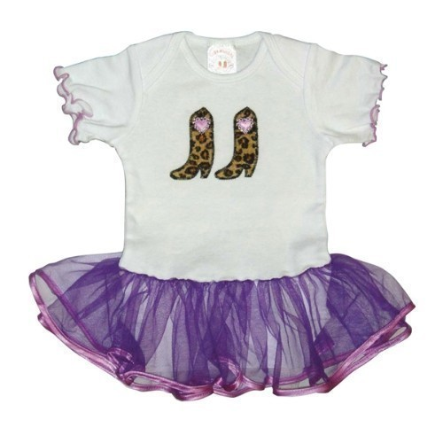GIRLS WHITE ONESIE WITH LAVENDER TULLE SKIRT Thumbnail