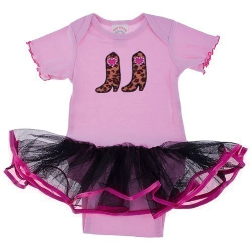 GIRLS PINK ONESIE WITH BLACK TULLE SKIRT Thumbnail