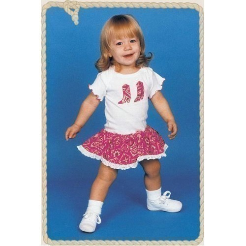 GIRLS WHITE ONESIE WITH RASPBERRY SKIRT Thumbnail
