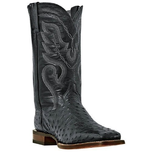 BLACK DAN POST OSTRICH WESTERN SQ TOE BOOT Thumbnail