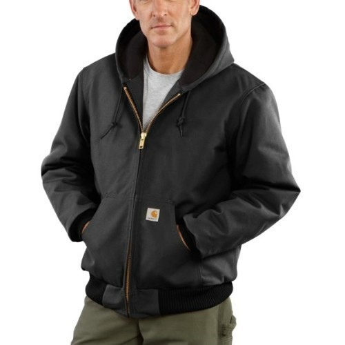 Carhartt Duck Active Jac Flannel Lined Black Thumbnail