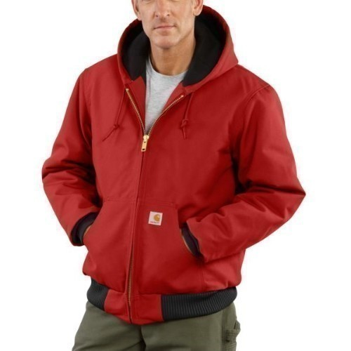 Carhartt Duck Active Jac Flannel Dark Red Big Thumbnail