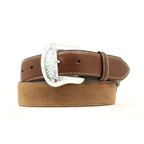 DISTRESSED BROWN LEATHER WESTERN BELT Thumbnail