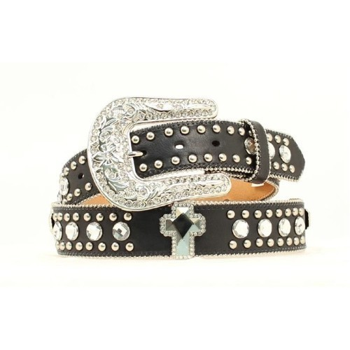 BLACK RHINESTONE CROSS BLING LEATHER BELT Thumbnail
