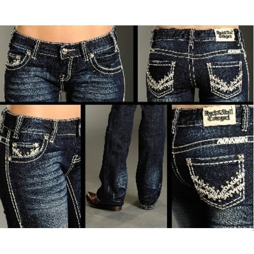 JUNIORS LOW RISE BOOT CUT JEANS Thumbnail